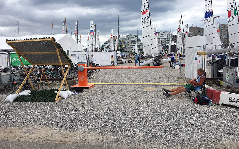 Portable boom barrier at the 2018 Sailing World Cup